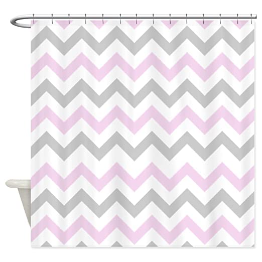 pink grey shower curtain. Amazon com  CafePress Pink and Grey Chevron Shower Curtain Decorative Fabric Home Kitchen