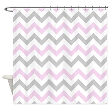 Amazon.com: CafePress - Pink and Grey Chevron Shower Curtain ...