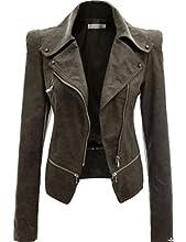 Urban Zakapa Women PU Jacket Long Sleeve Zipper Closure Moto Bike Short Coat