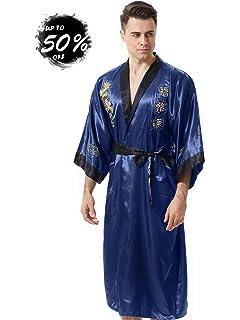 MORCOE Men s Chinese Dragon Embroidered Satin Kimono Yukata Long Robe  Loungewear Pajamas Smoking Jacket with Pockets 983fdc533