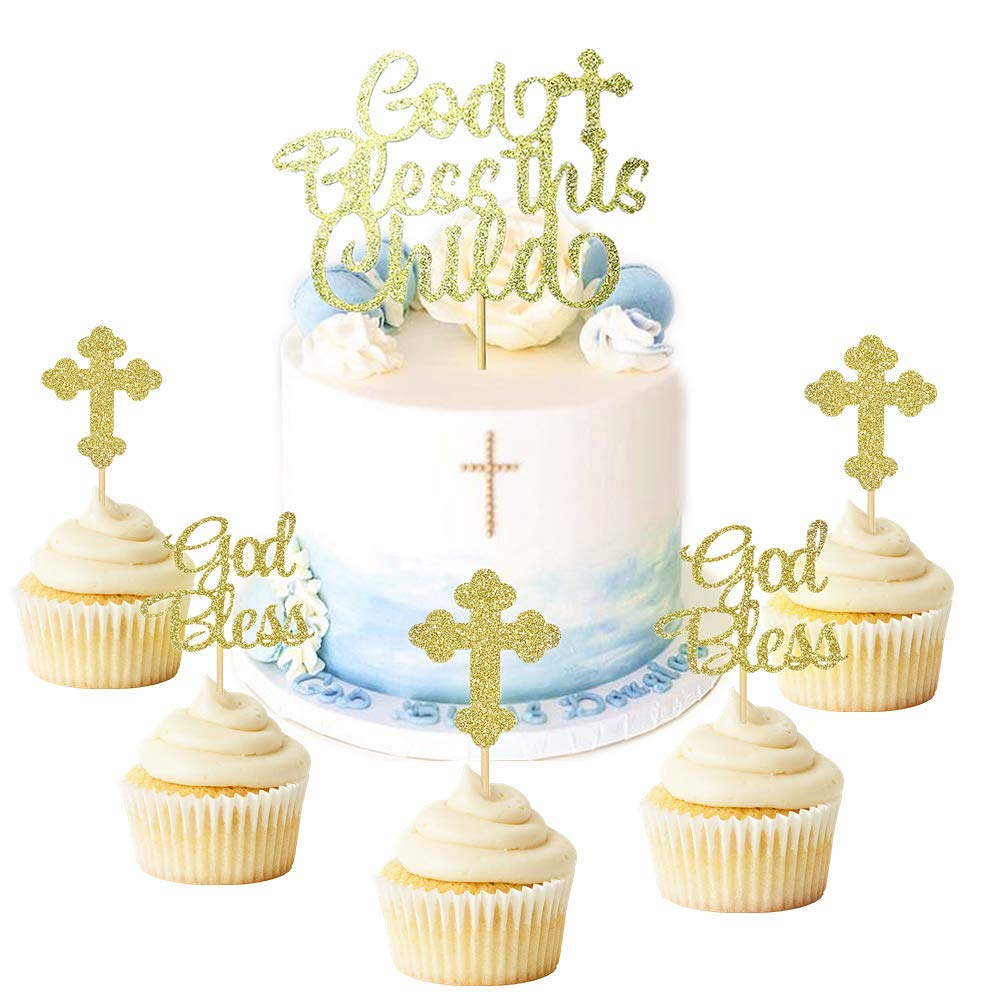 JeVenis 25 PCS Glittery God Bless this Child Cake Topper Baptism Cupcake Toppers Cross Cupcake Topper Angel Fairy Cake Topper Baptism Party Decorations Favor Wedding Birthday Cake Decor by JeVenis (Image #1)