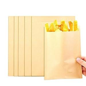 Heatoe 300 Pack Flat Kraft Paper Sandwich Bags, Brown Unbleached Wrap Sheet,Food Grade, Great for Snacks Cookie Bread(7.9x5.9 Inch)