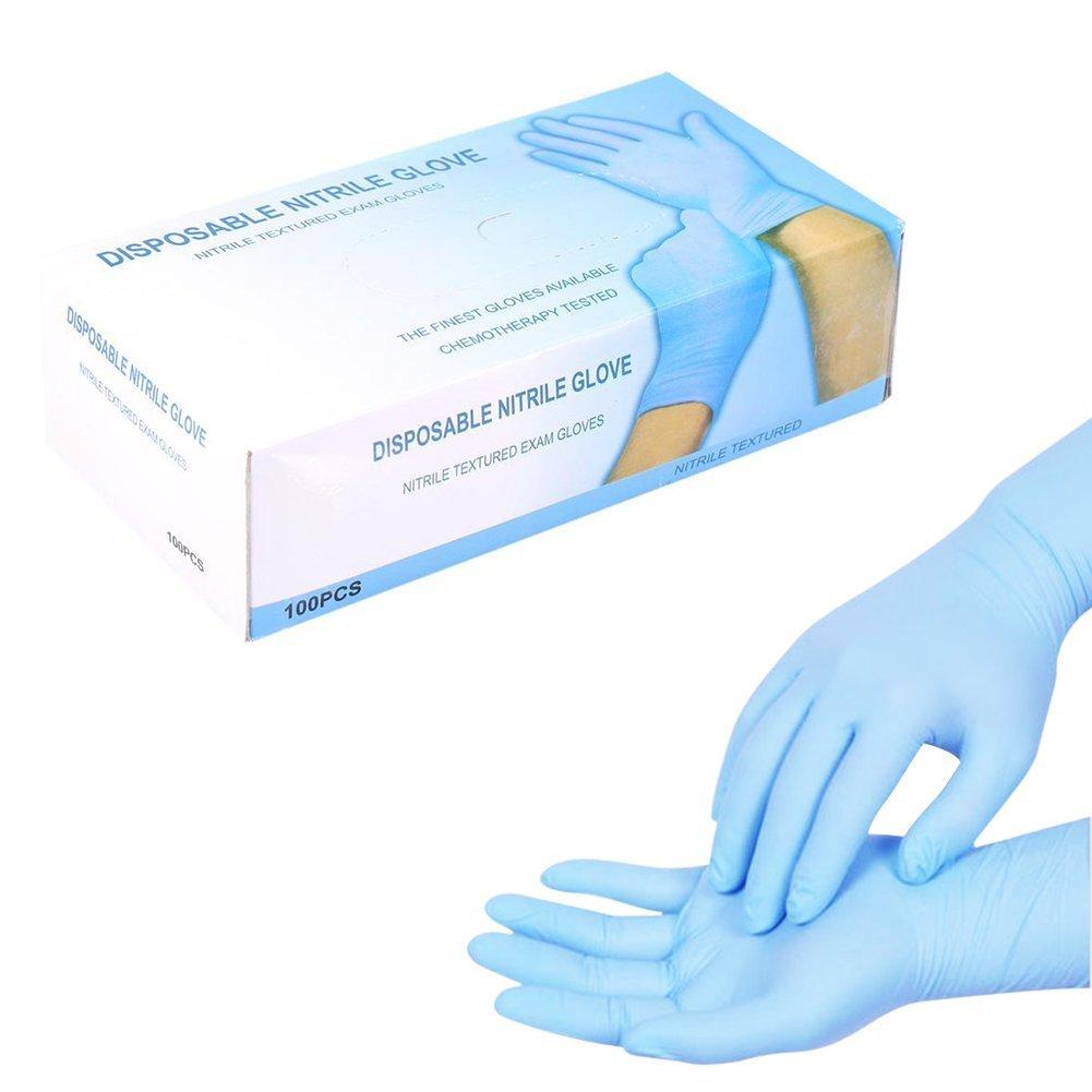 Guantes Desechables Latex 100pcs//Caja de Nitrilo Esteriles General Trabajo libres de polvo Blu L