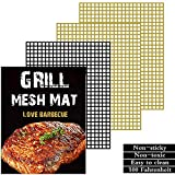 Wodahan BBQ Grill mesh mat Set of 3 :Non-Stick Grill mat, Copper Grill mat,for Grilled Meat/Fish/Vegetable Food,Suitable for Charcoal, Electrical and Gas Grilling.