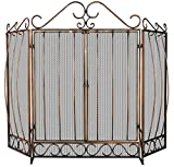 Uniflame, S-1659, 3 Fold Venetian Bronze Screen with Bowed Bar Scrollwork and Doors