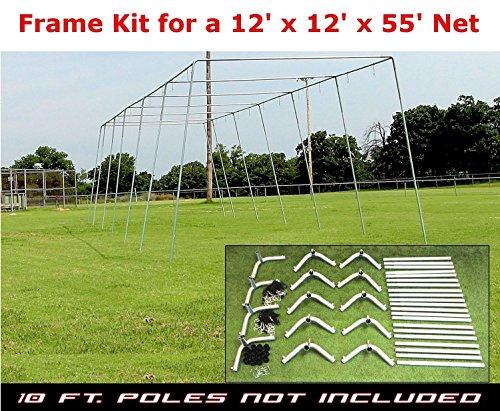 12' x 12' x 55'Heavy Duty Trapezoid Batting Cage FRAME KIT for Baseball/Softball by Jones Sports