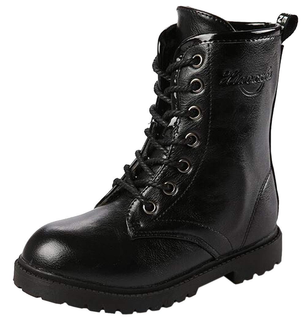 DADAWEN Boy's Girl's Waterproof Outdoor Combat Lace-Up Side Zipper Mid Calf Boots Black US Size 4 M Big Kid