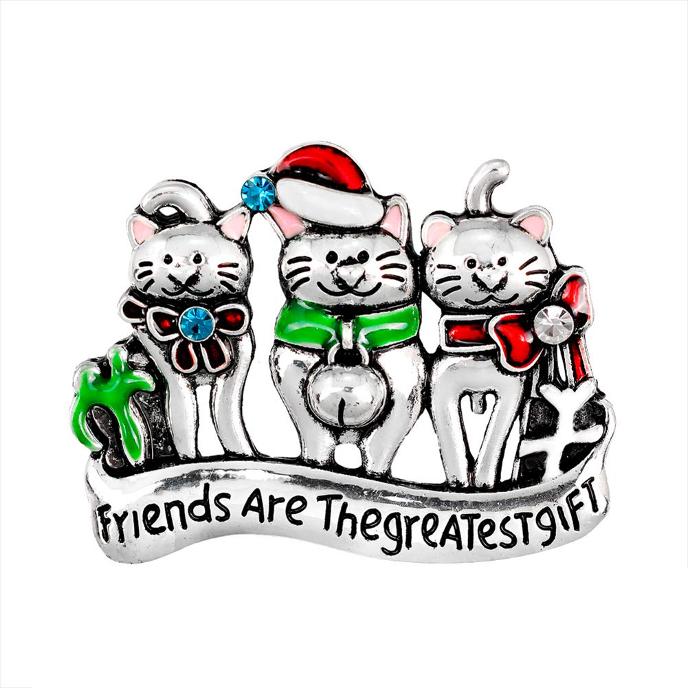 Bangle009 Big Promotion Fashion Women Cartoon Cat Enamel Rhinestone Brooch Pin Xmas Christmas Party Gift AL376-A