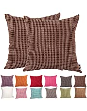 Comoco®-2pcs Solid Color Big Corn Striped Thick Corduroy Decorative Cushion Cover for Sofa Available In 15 Colors and 7 Sizes