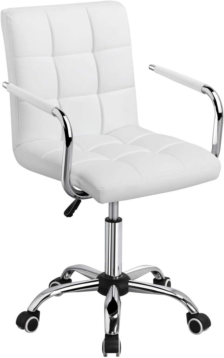 Yaheetech Silla de Oficina Giratoria Taburete de Trabajo Bar Altura Ajustable Carga MAX 120Kg con Respaldo Blanco