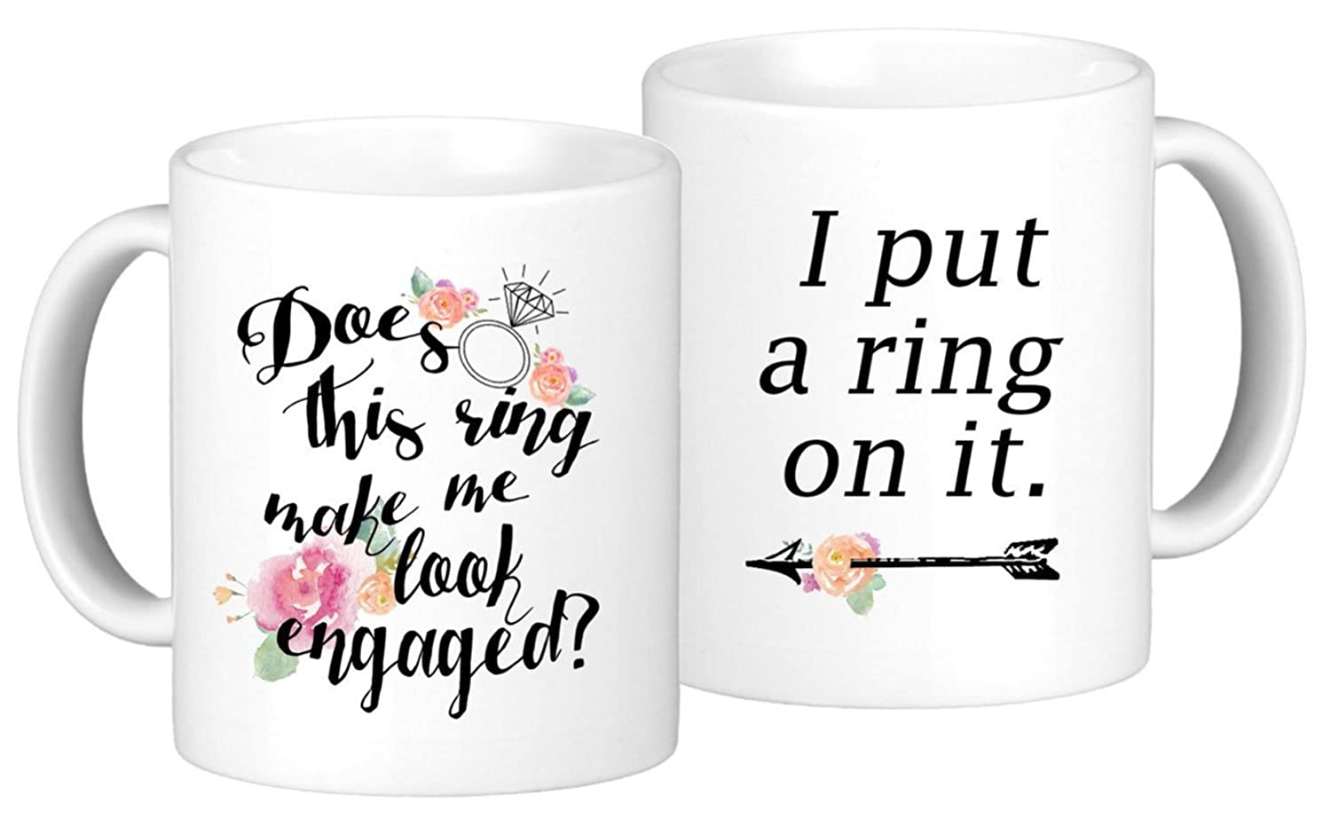 """Engagement Coffee Mug Set""""Does this ring make me look engaged?"""" and""""I put a ring on it"""" 2 11oz Mugs In White Gift Boxes (SET) Fiance Gifts For Her Valentines Day Present Bride To Be Mug"""