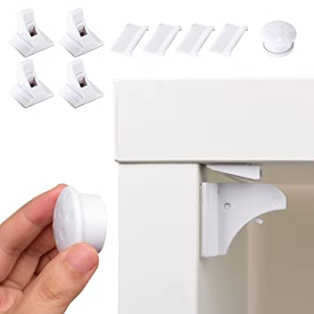4//8 Set Magnetschlösser mit Schlüssel Magnetische Kindersicherung Schrankschloss