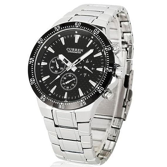 ShoppeWatch Reloj De Hombre Deportivos De Lujo Acero Inoxidable - Mens Bracelet Watch - CR8063SLBK-