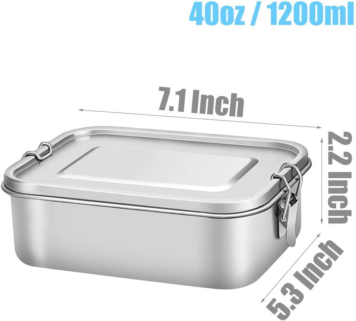 BPA Frei und Auslaufsicher Bento Box 1200 ML Ideal Lunchbox f/ür Kinder und Erwachsene NHFOREST Brotdose aus Edelstahl mit herausnehmbarer F/ächern und zusammenklappbarer L/öffel