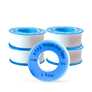 5 Rolls Plumbers Tape, PTFE Thread Seal Tape, Plumbers Thread Tape, Pipe Sealant Tapefor Shower Heads and Pipe Threads,White 3/4 Inch x 520 Inch