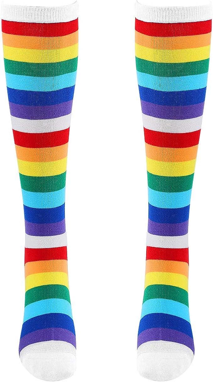 Unisexe Femmes /& Hommes 1 Paire Chaussettes Arc en ciel à rayures Bleu marine Chaussettes Garçons Filles
