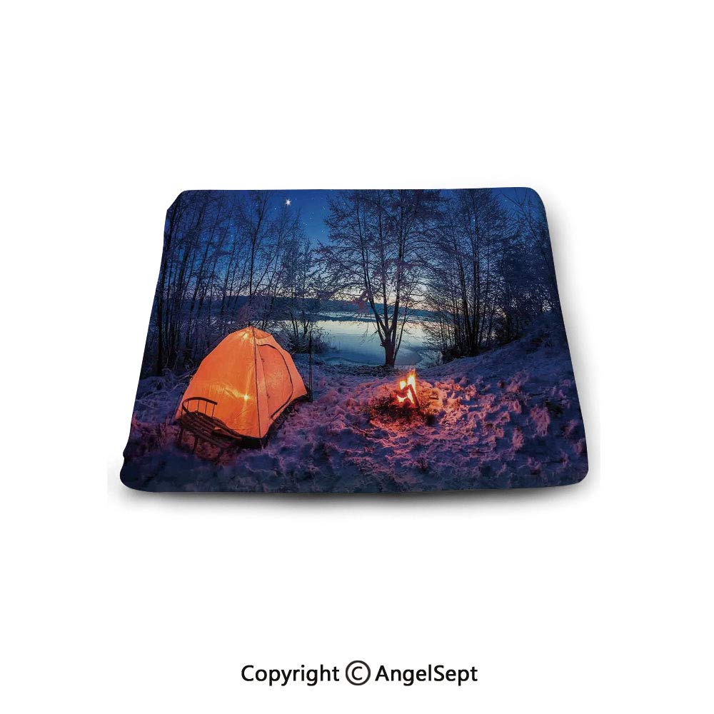 Square Chair Seat Cushion for Kitchen Dining Chairs,Apartment Decor,Dark Night Camping Tent Photo in Winter on Snow Covered Lands by The Lake,Blue Orange,Memory Butt Pad Non Slip