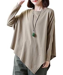 74569eaf77 YESNO E03 Women Tee T-Shirts Handkerchief Hem Tops Casual Loose Fit  Asymmetric Hemline Crew