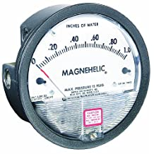 "Dwyer Magnehelic Series 2000 Differential Pressure Gauge, Range 0-0.5""WC and 0-125 Pa"