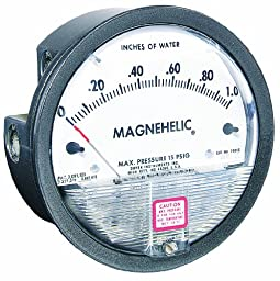 Dwyer Magnehelic Series 2000 Differential Pressure Gauge, Range 0-25\