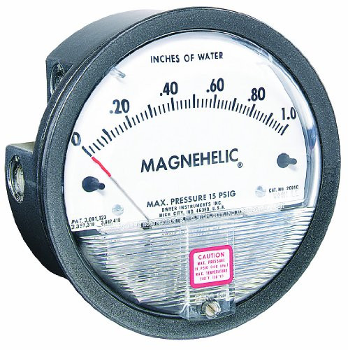 Dwyer Magnehelic Series 2000 Differential Pressure Gauge, Range 0-1.0