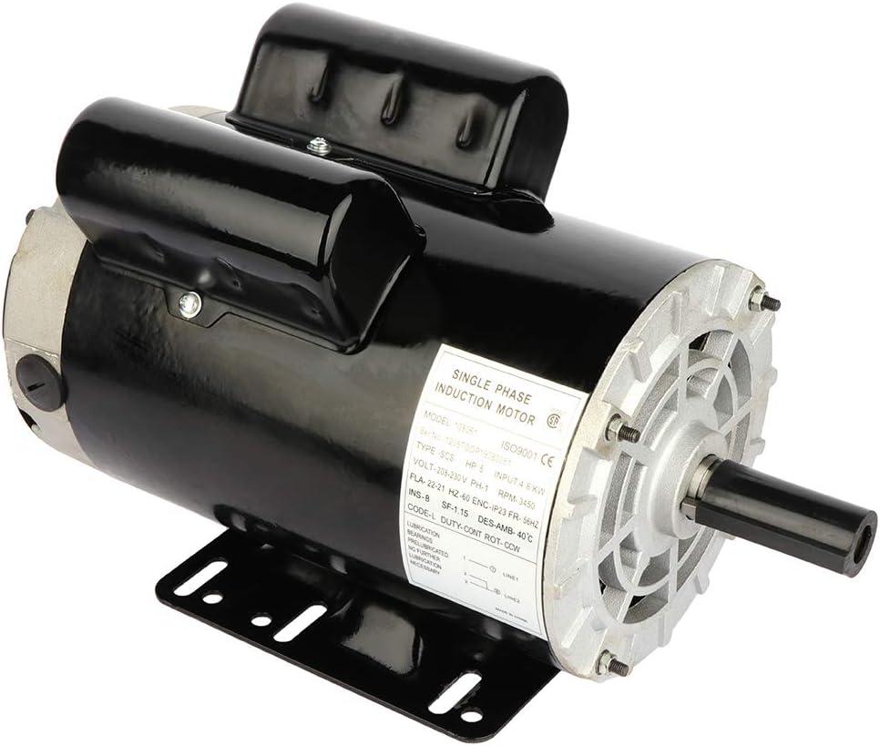 GYZJ 5HP Air Compressor Electric Motor 60 HZ 3450 RPM,Single Phase, 56HZ Frame, 208V-230Volts,22.0-21.0A 7/8 Shaft Diameter Rolled Steel Shell Electric Compressor Motor
