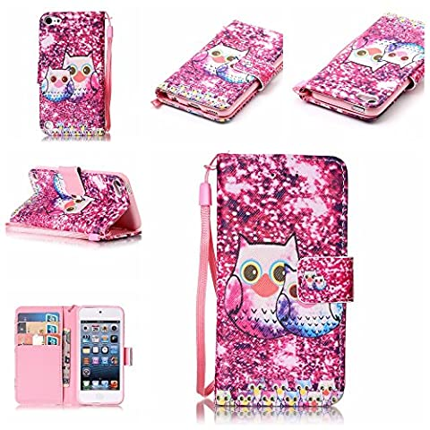 iPod Touch 5 Case , iPod Touch 6 Case, Alkax Premium PU Leather Wallet Kickstand Magnet Flip Folio STAND Protective Cover with Card ID Card Slots for Apple iPod Touch 5 6th Generation (2 Hot Pink (Waterproof Ipod 4 Case Yellow)