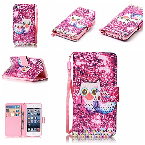 iPod Touch 5 Case, iPod Touch 6 Case, Alkax Premium PU Leather Wallet Kickstand Magnet Flip Folio Stand Protective Cover with Card ID Card Slots for Apple iPod Touch 5 6th Generation (2 Hot Pink Owl) ()