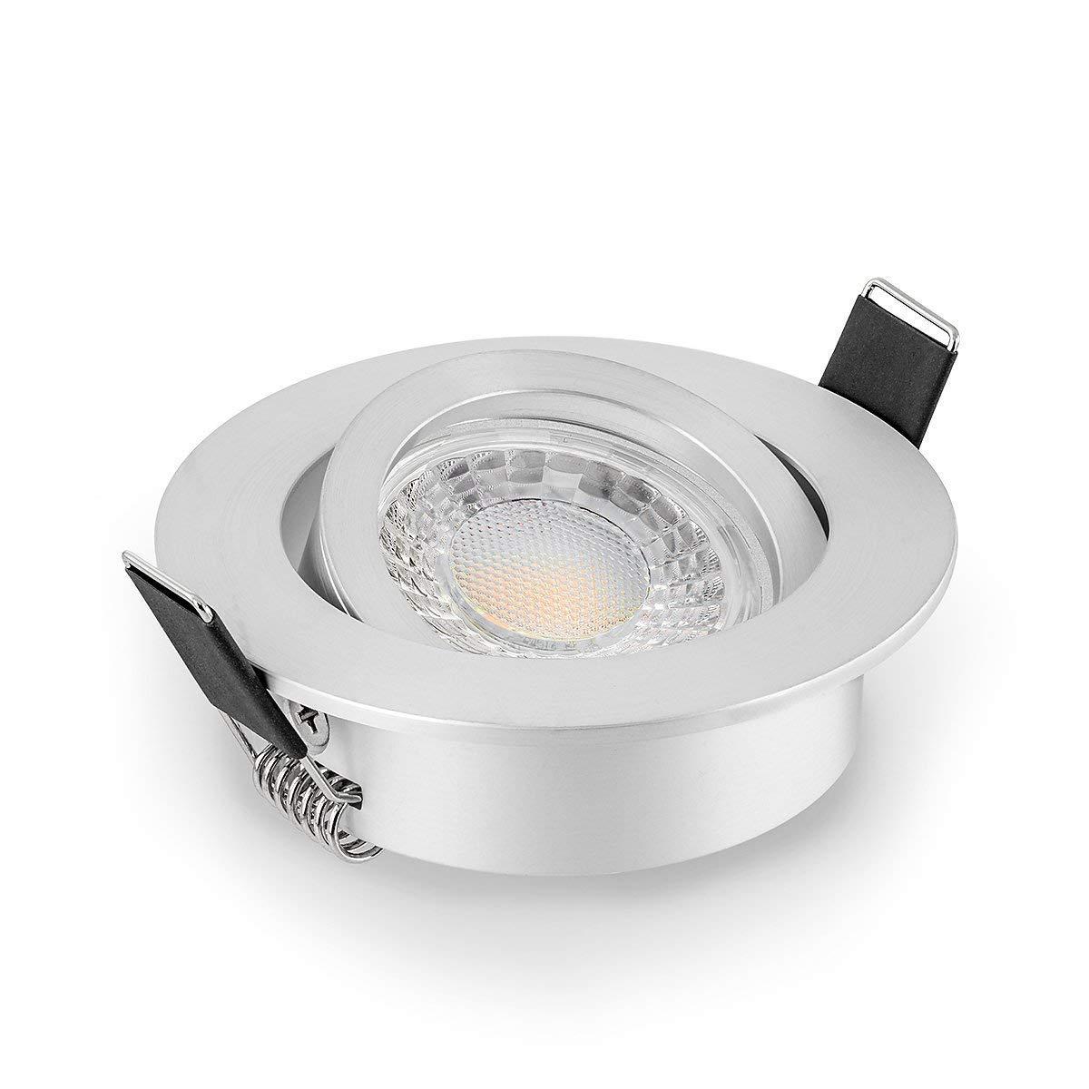 10 x LED Einbaustrahler Set dimmbar & schwenkbar inkl. Einbaurahmen 230V 7W GU10 (3000K 10er Set)