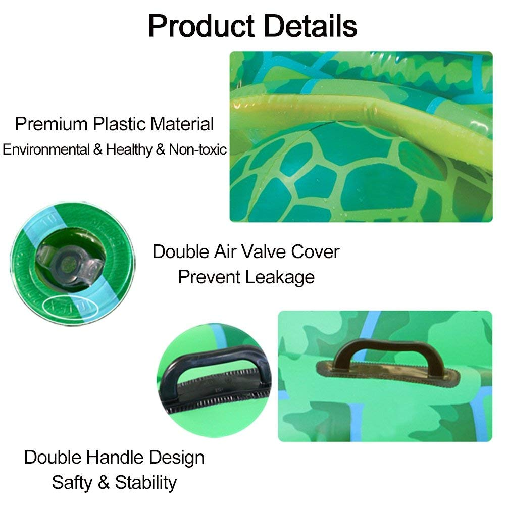 Luckstar 75'' x 67'' Sea Turtle Ride-On Inflatable Giant Turtle Float Toy Floating Bed Mat Turtle Swimming Pool Float Kids Inflate Raft Beach for Child Adults by Luckstar (Image #4)