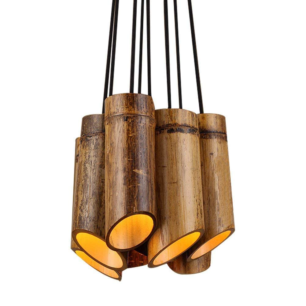 Hplights Vintage Industrial Style Pendant Light 8 Heads Hemp Rope Chandelier for Restaurant Bar Cafe Club Loft Personal Office, Natural Bamboo Brown Color