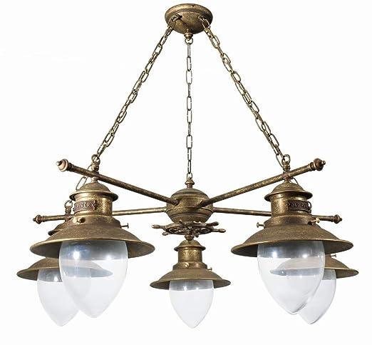 Premium lámpara luz de techo de latón envejecido 5 x E27 ...
