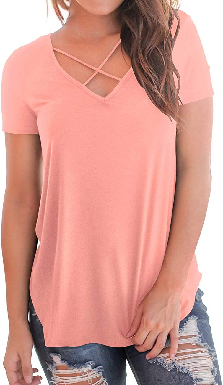 NIASHOT Womens Casual Short Sleeve Solid Criss Cross Front V-Neck T-Shirt Tops