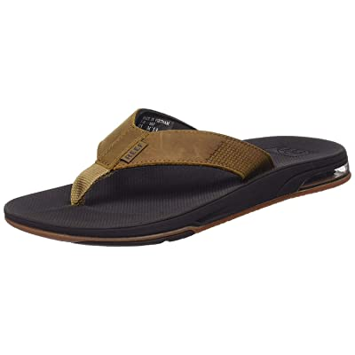 Reef Men's Sandals Leather Fanning Low| Bottle Opener Flip Flops for Men with Arch Support: Shoes