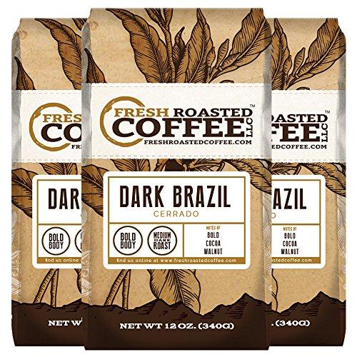 Dark Brazilian Cerrado Coffee, 12 oz. Ground Bags, Fresh Roasted Coffee LLC. (3 Pack)