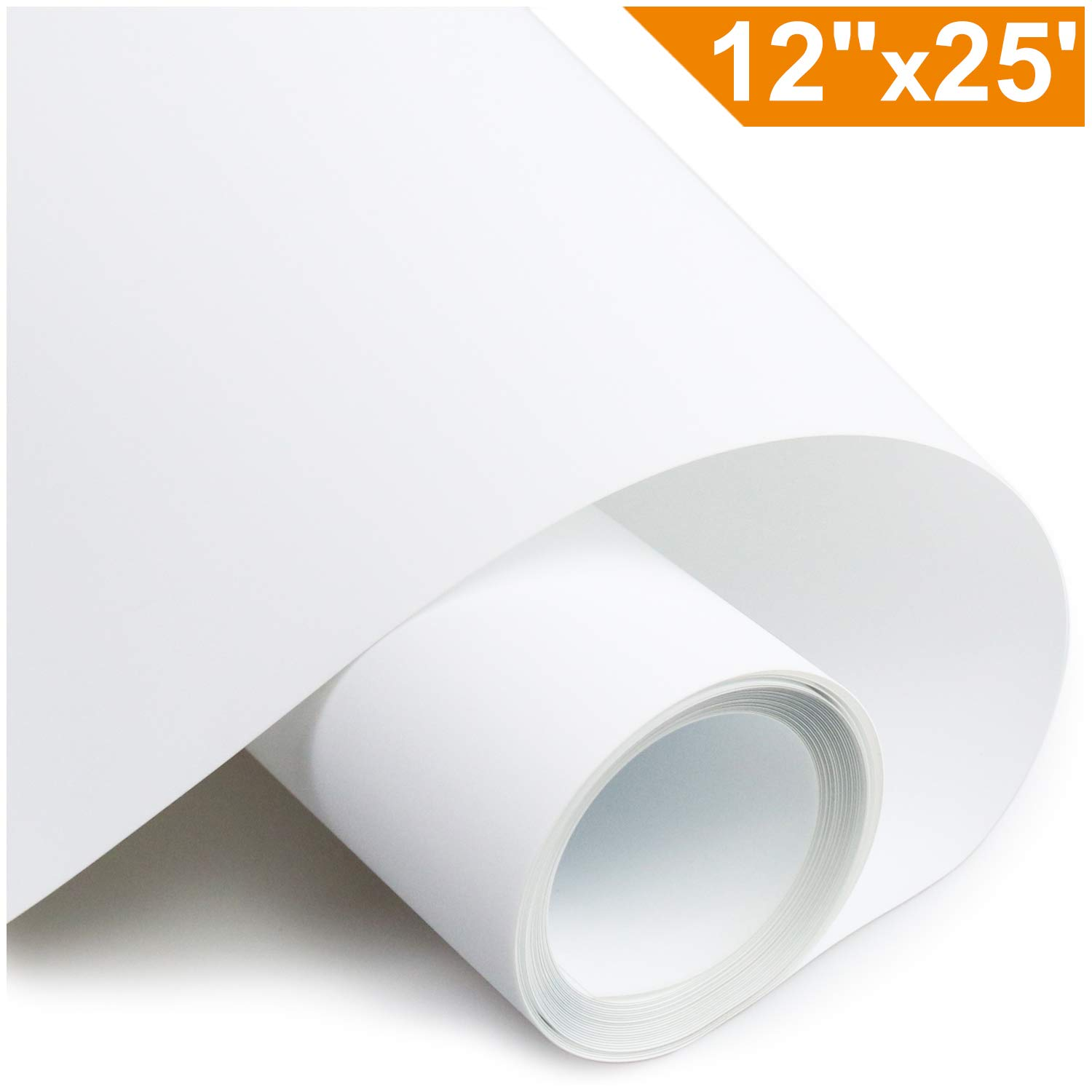 Heat Transfer Vinyl HTV for T-Shirts 12Inches by 25 Feet Rolls(White) AHIKY
