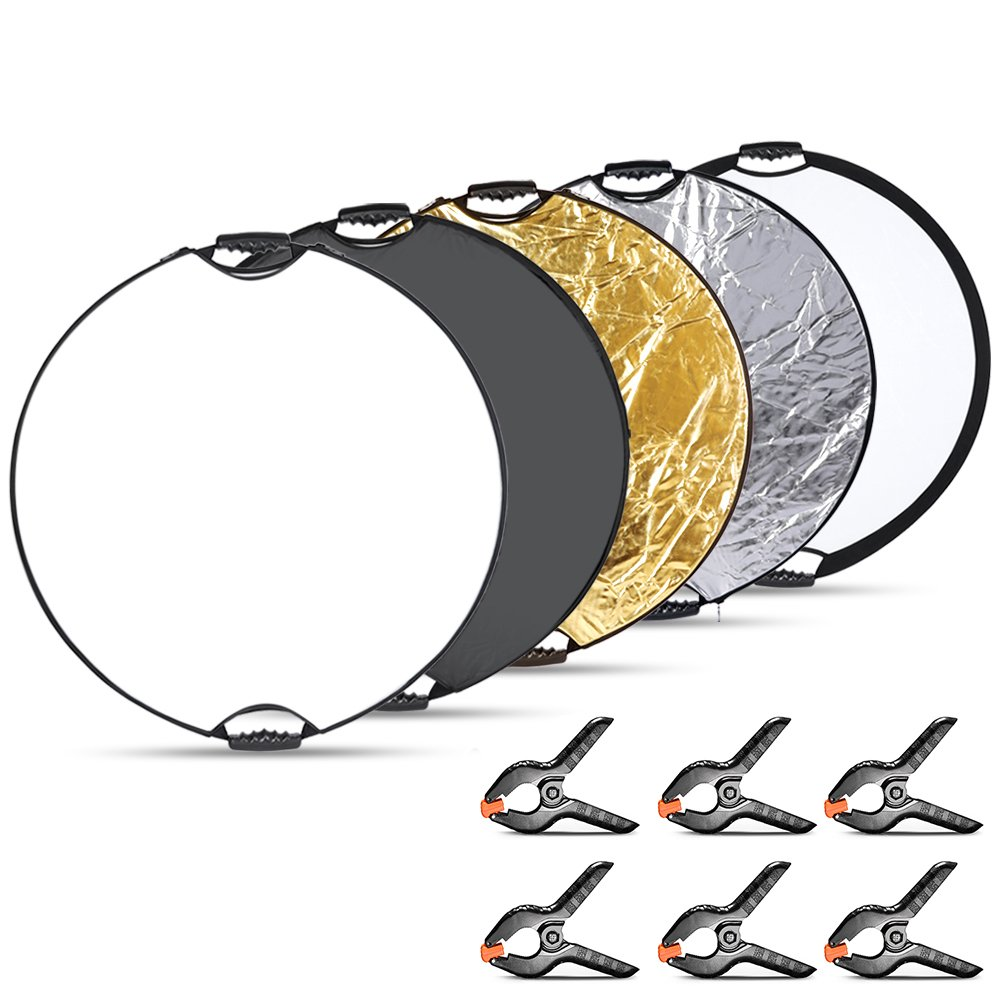 Neewer Reflector with Clamps Kit - 32 inches/80 Centimeters 5 in 1 Collapsible Circular Reflector(Translucent Silver Gold White Black) with 6-Pack Muslin Clamps Clips for Studio Product Photography 90090296