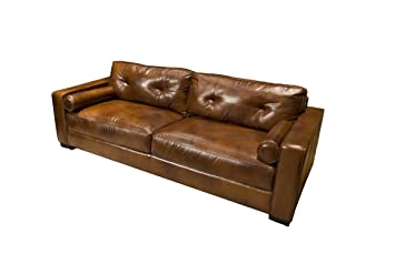 Elements Soho Top Grain Leather Sofa, Rustic Leather