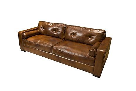 Amazon.Com: Elements Soho Top Grain Leather Sofa, Rustic Leather