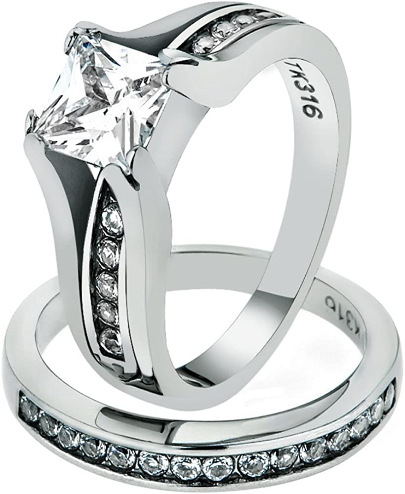 Marimor Jewelry 2.10 Ct Princess Cut Zirconia Stainless Steel Wedding Ring Set Women's Sz 5-11