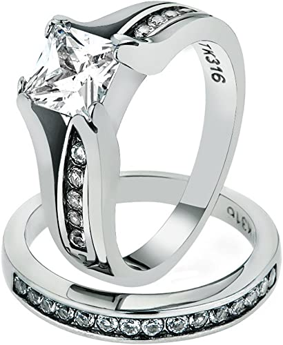 Stunning Princess Cut CZ Stainless Steel Wedding Ring Band Set Women/'s Size 5-10