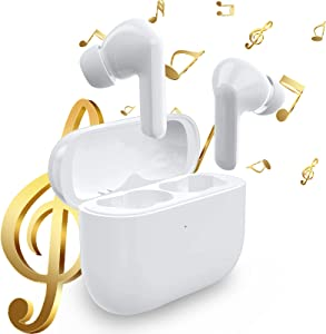 Wireless Earbuds, Bluetooth 5.0 Touch Control Built in Mic Ear Buds Noise Cancelling Headphones with 20Hrs Charging Case Waterproof Deep Bass Headset for iPhone/Samsung/Android (Pro3)
