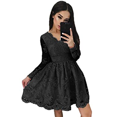 8e145a87b51 FIGHOUR A-Line Applique V-Neck Long Sleeves Short Lace Prom Homecoming  Dresses Cocktail Dress New at Amazon Women s Clothing store