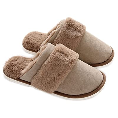 Men Slippers Memory Foam Indoor House Slip-On Outdoor Women Clog Sole Plush Fur ... | Slippers