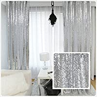 TRLYC 4Ft6.5Ft Silver Sequin Backdrop/Curtain Sequin Backdrop For Wedding And Party