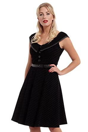 459803d114 VOODOO VIXEN Charleigh Flocked Houndstooth Midi Dress  Amazon.co.uk   Clothing