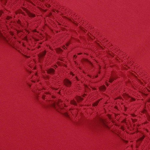 Girocollo Corta Casuale Donne Manica Freddo Elegante Damark Pullover Rosso Camicetta Cime Pizzo Tunica Solido Maniche Vestiti Estate TM Tops Maglietta Tops Donna Shirt Corte T qwxFn4xCZH