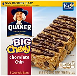 Quaker Big Chewy Chocolate Chip Granola Bar, 7.4 Ounce
