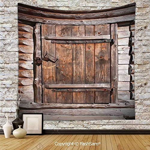 Polyester Tapestry Wall Rustic Wooden Door of Old