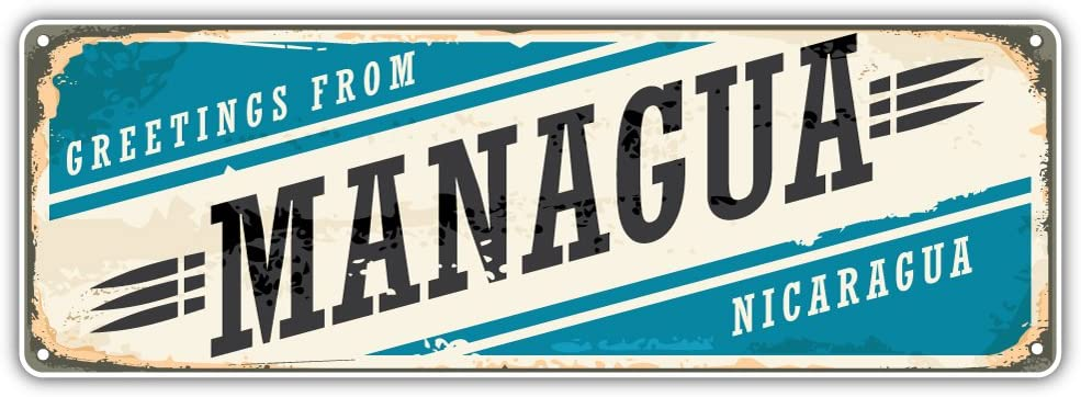 Managua City Nicaragua Retro Sign Travel Bumper Sticker Vinyl Art Decal for Car Truck Van Window Bike Laptop